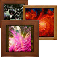 Original fractal art coffee mugs, tile boxes,  journals and much more